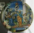 Urbino, francesco xanto avelli, antigone trasformata in cicogna, stemma pucci, 1533.JPG