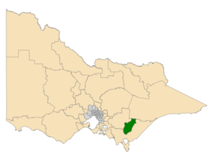 Electoral district of Morwell - Location of Morwell (dark green) in Victoria