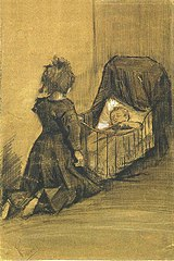 Van Gogh 1883-03, The Hague - Girl Kneeling by a Cradle F 1024 JH 336.jpg
