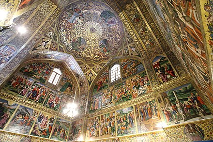 The Vank Cathedral. The Armenians moved into the Jolfa district of Isfahan and were free to build their prayer houses, eventually becoming an integral part of the society. Vank Cathedral interior.jpg