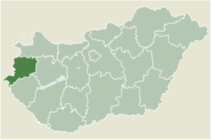 Szentgotthárd - Location of Vas County in Hungary