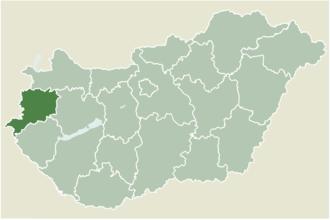 Egyházashetye - Location of Vas county in Hungary