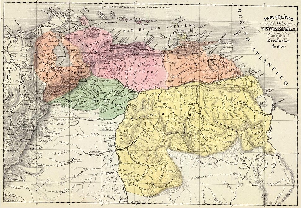 Map by Agustín Codazzi showing the six provinces of Venezuela in 1810.