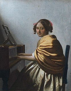 <i>A Young Woman Seated at the Virginals</i> paiting by Johannes Vermeer