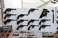 Victory Show Cosby UK 06-09-2015 WW2 re-enactment display Trade stalls Misc. militaria personal gear replicas reprod. originals collect. zaphad1 Flickr CCBY2.0 WW2 Revolvers handguns ammo etc IMG 3826.jpg