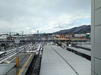 View from overpass of Nishitetsu-Futsukaichi Station in a snowy day (North).JPG