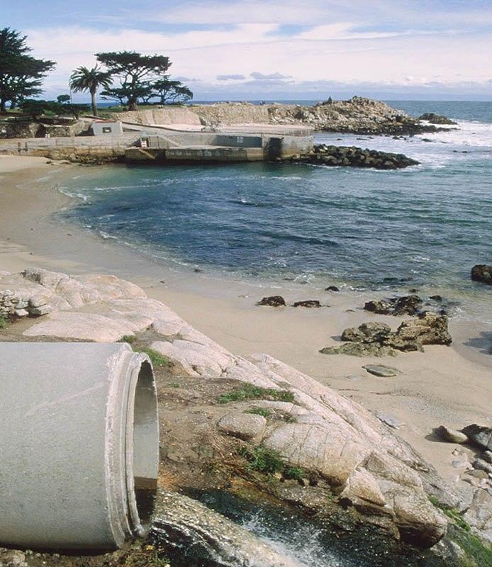 View of urban runoff discharging to coastal waters