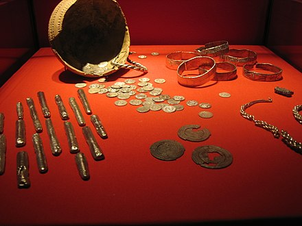 A hoard of silver Viking treasure now located in the Rijksmuseum van Oudheden. Viking treasure (Leiden).jpg