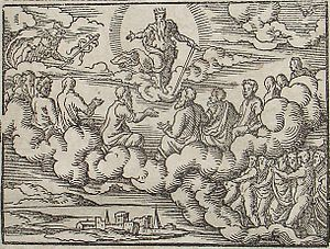 Divine Council - Council of gods before the Deluge. Engraving by Virgil Solis for Ovid's Metamorphoses Book I, 162-208. Fol. 4v, image 7.