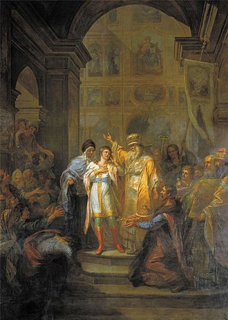 Michael of Russia - Sixteen-year-old Michael being offered the crown at the Ipatiev Monastery in 1613, painting by Grigory Ugryumov