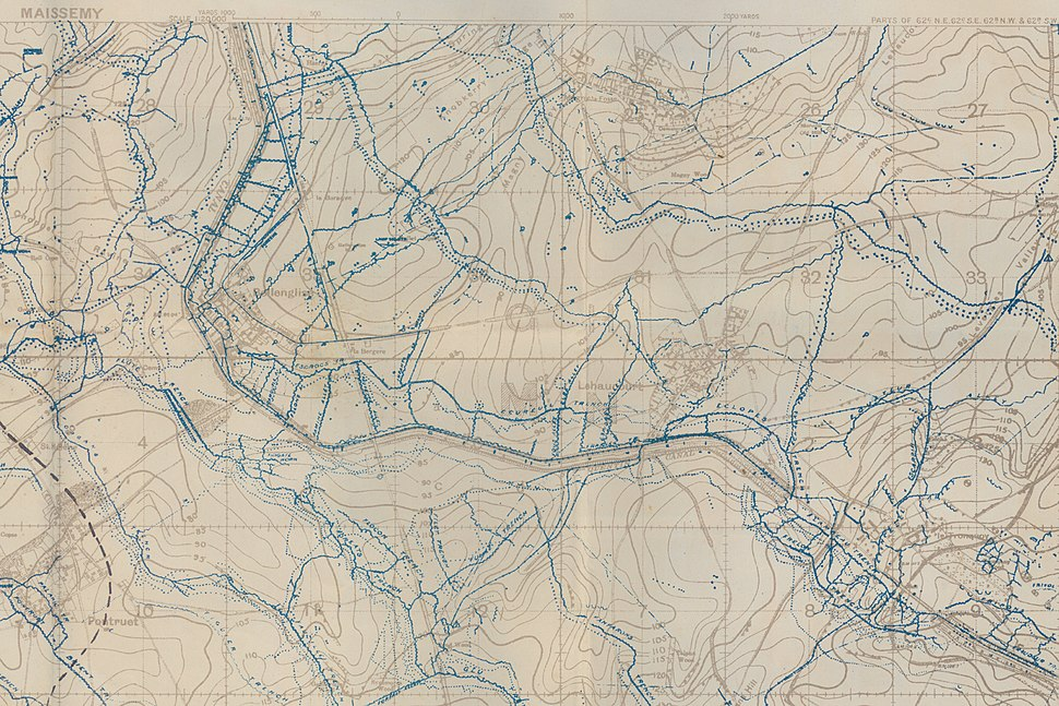 WW1 Trench Map of Maissemy crop