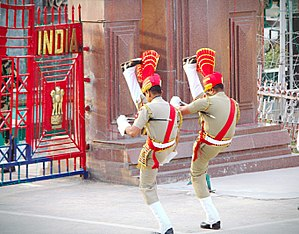 Wagah border ceremony -  Marching By Indian Soldiers