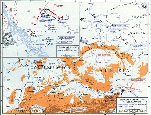 The strategic situation and the Battle of Wagram in early July 1809. Wagram and vicinity, 5 July 1809.jpg