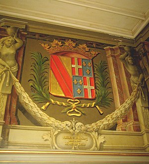 Philip of Hachberg-Sausenberg - Panel with the coat of arms of Margrave Philipp von Hachberg-Sausenberg (Philippe de Hochberg) and his wife Marie de Savoy at the Neuchâtel Castle