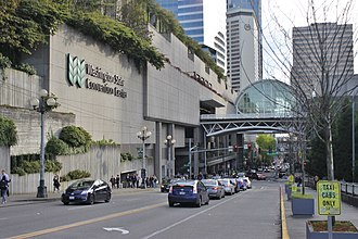 Washington State Convention Center - View of the skybridge, built during the 2001 expansion, from Pike Street