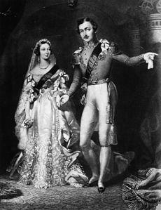 10 de Fevereiro de 1840: Rainha Victoria (1819 - 1901) e Príncipe Albert (1819 - 1861) ao retornar da cerimônia de seu casamento realizada no St James Palace, em Londres. Ilustração Origina de S Reynolds após F Lock.