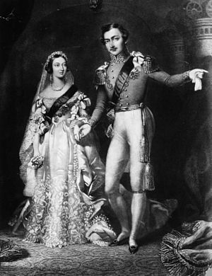 Wedding dress of Queen Victoria - Queen Victoria and Prince Albert on their return from the marriage service at St James's Palace, London, 10 February 1840. Engraved by S Reynolds after F Lock.