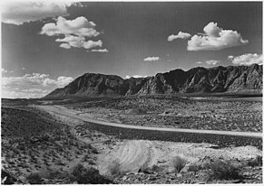 1929 photo of the Arrowhead Trail and the Vermilion Cliffs near Santa Clara, Utah.
