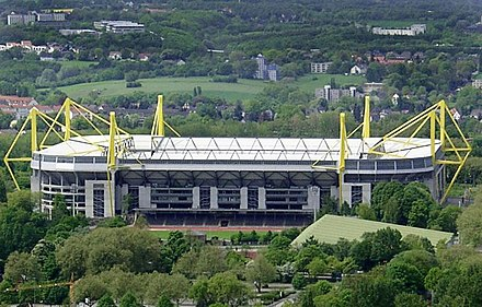 Signal Iduna Park, the stadium of Bundesliga club Borussia Dortmund, is the largest stadium in Germany Westfalenstadion von oben.jpg