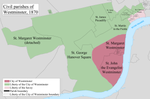 Westminster St Margaret and St John - Image: Westminster Civil Parish Map 1870
