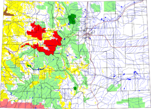 White River National Forest - The forest highlighted in red in a map of Colorado.