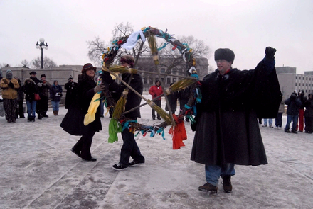 Wiccan event in Minnesota, with practitioners carrying a pentacle, 2006 Wiccan event in the US (1).PNG