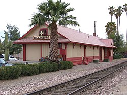Old Santa Fe RR station, now the offices for the local chamber of commerce and visitor's center