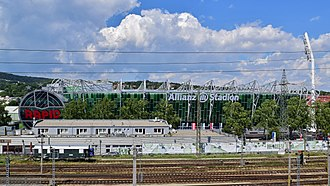 Allianz Stadion - Image: Wien Hütteldorf Allianz Stadion 4 Ansicht aus dem Parkhaus U4 Hütteldorf