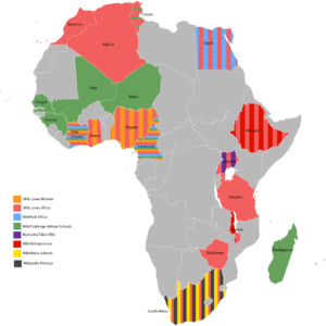 A visualisation of the projects that have supported the WikiAfrica movement since 2014.