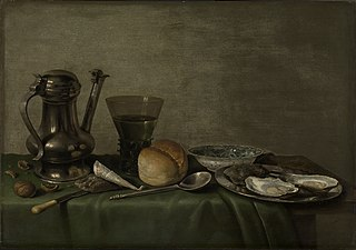 Still life with tobacco, rummer and oysters