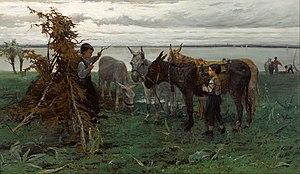Willem Maris - Boys herding Donkeys