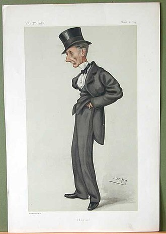 """William Edmonstone - """"Chorus"""". Caricature by Spy published in Vanity Fair in 1879"""