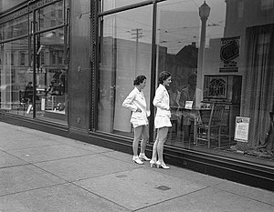 Window shopping at Eaton's department store.