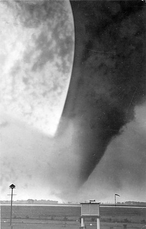 1946 Windsor–Tecumseh tornado - The Windsor Tornado, taken at Windsor Airport looking northwest towards downtown and Detroit.