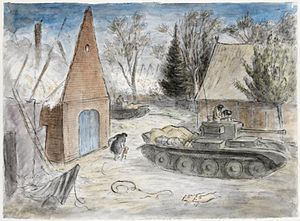 "Daerstorf - ""With the 8th Hussars in Germany- Tanks in a burning village"" Drawing by Edward Ardizzone during the capture of Daerstorf 1945."