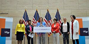 Women's Equality Day - Nancy Pelosi, Anna Eshoo, Barbara Lee and Jackie Speier on the 96th anniversary of the 19th Amendment to the Constitution, when women won the right to vote.