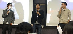 Wong Fu Productions - Wesley Chan, Ted Fu, and Philip Wang speak at an event.