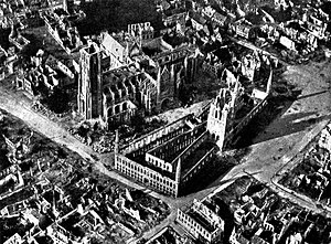 Ypres Cloth Hall - Ypres Cloth Hall during World War I