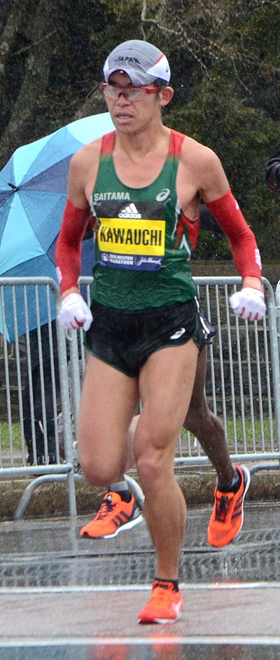 Yuki Kawauchi near halfway point of Boston Marathon 2018 in which he got first place.
