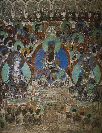Yulin Caves - Image: Yulin Cave 2 s wall preaching (Western Xia)