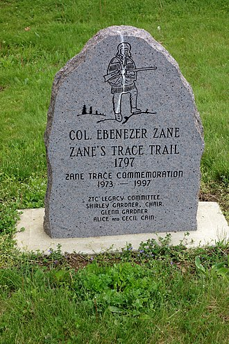 Ebenezer Zane - Ebenezer Zane, was the namesake of Zane's Trace commemorated on stone trail marker at National Road Museum in Norwich, Ohio