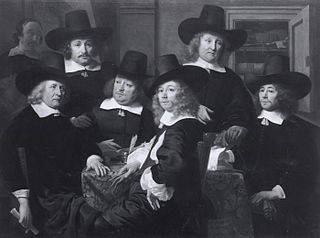 Six regents and the beadle of the Nieuwe Zijds institute for the outdoor relief of the poor