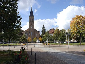 Niesky - Zinzendorf Square with Moravian Church