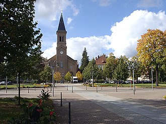 Niesky - Zinzendorf Square with Moravian Church