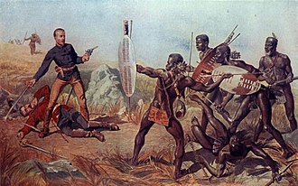 Battle of Isandlwana - British Officer attacked by Zulu warriors.