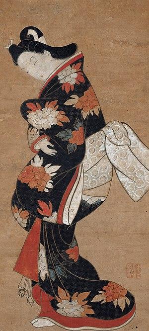 Torii Kiyonobu I - Beauty in a Black Kimono by Torii Kiyonobu, c. 1710–20, Japan, Edo period, Hanging scroll; ink, colors, and gold on paper