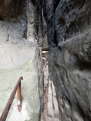 Narrow path to the top of the rock castle Šaun...
