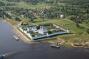 Monk - General view of Holy Trinity-Makaryev Monastery, on the Volga River in Nizhny Novgorod Oblast, Russia.