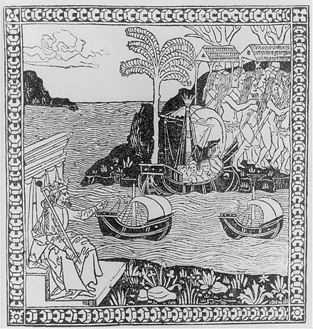 Ferdinand the Catholic points across the Atlantic to the landing of Columbus, with naked natives. Frontispiece of Giuliano Dati's Lettera, 1493. -Ferdinand and the Fleet-.jpg