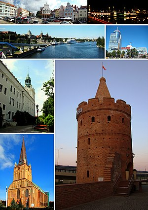 Szczecin - Top: Market; Old Town Hall, The Oder Middle: National Sea Museum, PAZIM building Bottom: Ducal Castle, St James' Cathedral, Virgin Tower